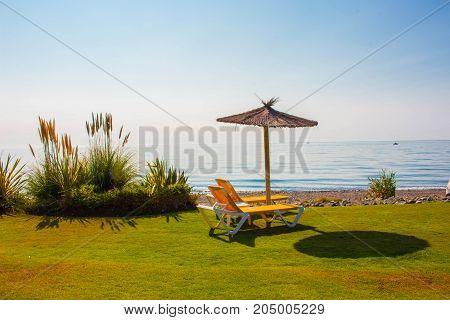 Beach. Summer landscape. Mediterranean sea, Costa del Sol, Andalusia, Spain.