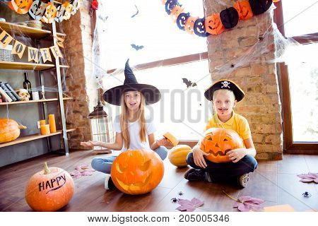 What`s Inside? Two Blonde Curious Siblings Made A Jackolantern, Fairy Is Peeking Inside It, Junior B