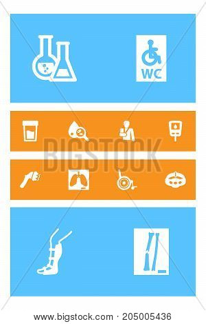 Collection Of Handicapped, Splint, Diabet Elements.  Set Of 12 Medicine Icons Set.