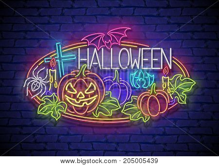 Happy Halloween Greeting Card Template. Shiny Neon Lamps Glow Stylization on Blue Brick Wall. Singboard with Pumpkins Bat Cross and Spider Symbols. Beautiful Holiday Flyer. Vector 3d Illustration.