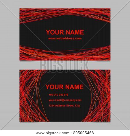 Abstract geometrical business card template design set - vector identity card illustration with red curved lines