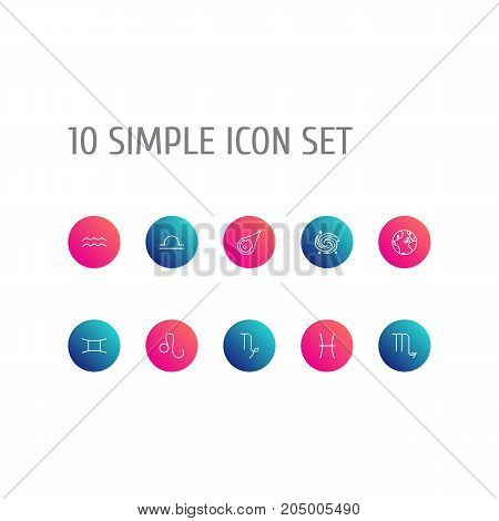 Collection Of Galaxy, Pisces, Leo And Other Elements.  Set Of 10 Astronomy Outline Icons Set.