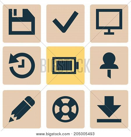 Interface Icons Set. Collection Of Deadline, Lifebuoy, Monitor And Other Elements