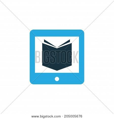 Premium Quality Isolated E-Reader Element In Trendy Style.  Learning Colorful Icon Symbol.