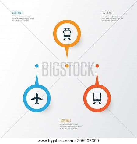 Transportation Icons Set. Collection Of Streetcar, Aircraft, Railway And Other Elements