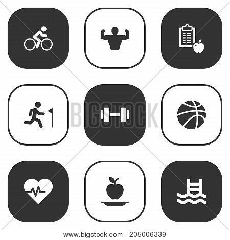 Collection Of Heartbeat, Basin, Running And Other Elements.  Set Of 9 Fitness Icons Set.