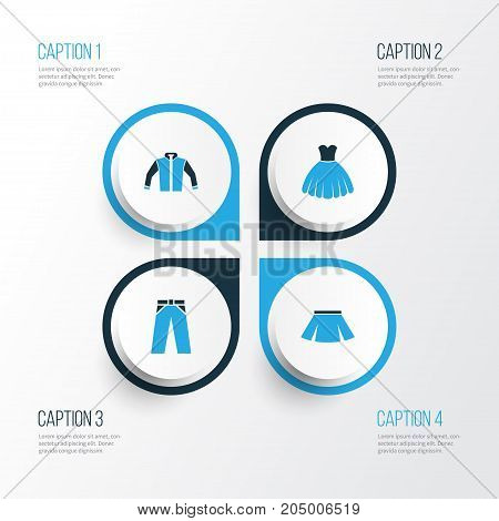 Garment Colorful Icons Set. Collection Of Jacket, Skirt, Trousers And Other Elements
