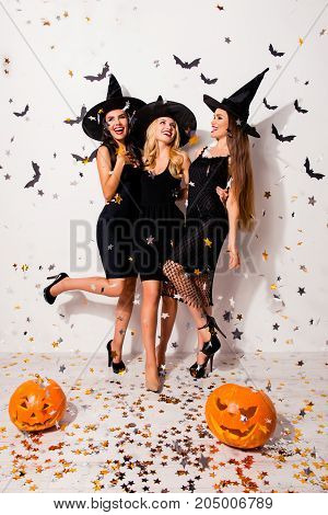 Full Size Of Crazy Glamour Party, Three Mistress In Elegant Wear, With Bright Red Lips, Long Wizard