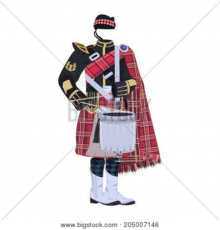 Vector illustration of scottish traditional clothing and tenor drum, musical instrument used within scottish pipe bands.