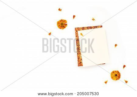 Autumn composition. Orange flowers dried autumn flowers notebook on white background. Flat lay top view