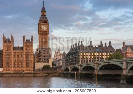 Palace of Westminster, Big Ben and Westminster bridge in the morning, London, England.