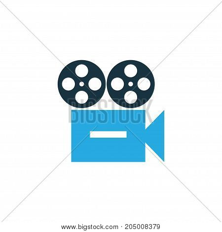 Premium Quality Isolated Video Element In Trendy Style.  Camera Colorful Icon Symbol.