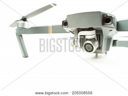 Surveillance camera drone on a white background with text space
