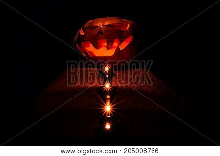 A Very Awful Halloween Pumpkin, With A Terrible Look And A Smirk Of A Villain, Glow From Within And
