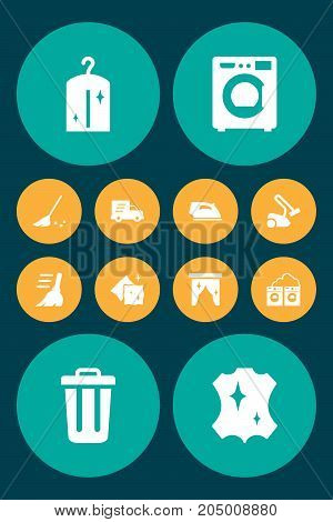 Collection Of Iron, Hoover, Broom And Other Elements.  Set Of 12 Harvesting Icons Set.