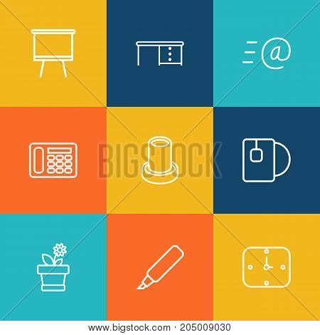 Collection Of Email, Pencil, Board Stand Elements.  Set Of 9 Bureau Outline Icons Set.