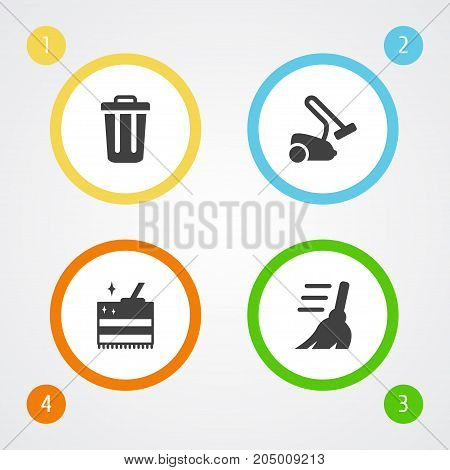Collection Of Cleaning, Broom, Hoover And Other Elements.  Set Of 4 Cleanup Icons Set.
