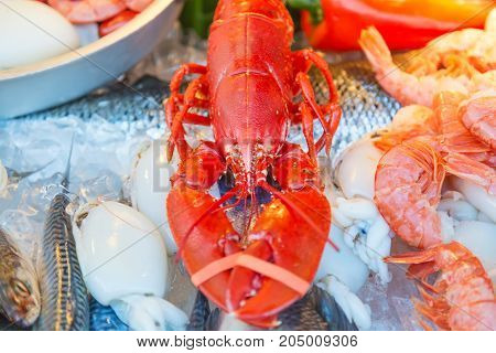 Fresh seafood red crawfish, shrimps, fish, calamary meat on ice at traditional seafood restaurant in Venice, Italy. Outdoor terrace