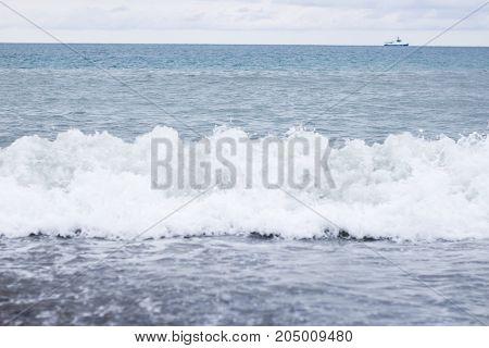 Foam After Sea Salt Wave In The Sea