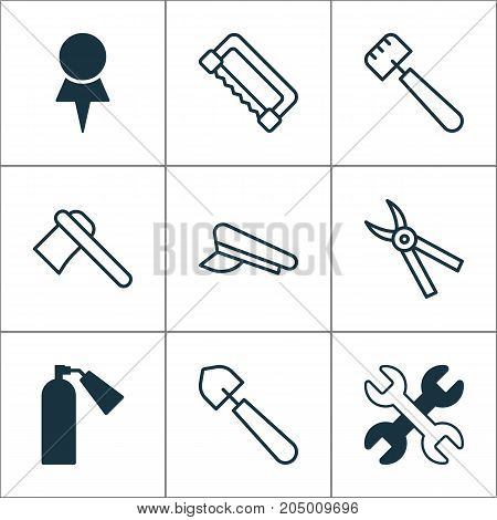 Instrument Icons Set. Collection Of Spanner, Carpentry, Cop Cap And Other Elements
