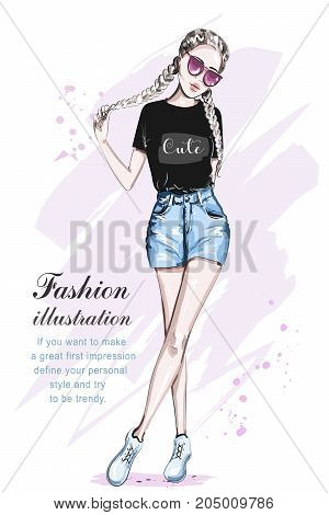Beautiful young girl in stylish crop top. Hand drawn fashion woman with creative braid hairstyle. Cute girl in fashion clothes. Sketch. Vector illustration.