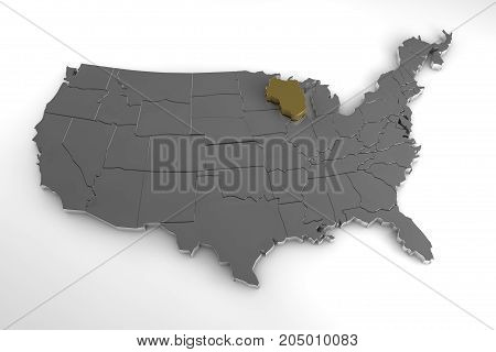 United States of America, 3d metallic map, with Wisconsin state highlighted. 3d render