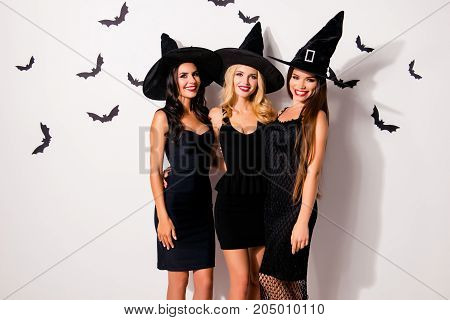 Group Of Three Embracing Seductive Worlocks In Masquerade Elegant Dresses, So Slim And Playful, With