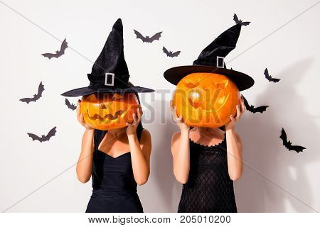 Trick Or Treat! Welcome To The Night! Two Ladies Worlocks With Jackolanterns, In Black Long Headwear