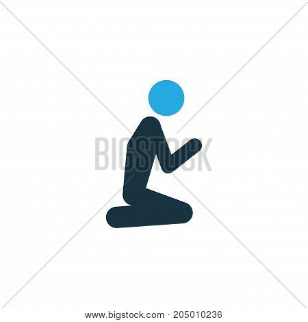 Premium Quality Isolated Man Element In Trendy Style.  Prayer Colorful Icon Symbol.