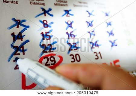 Markings In The Desktop Calendar, Marker Markings.