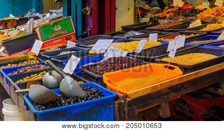 Olives On Sale In The Market, In Acre (akko)