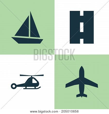 Transportation Icons Set. Collection Of Chopper, Yacht, Aircraft And Other Elements