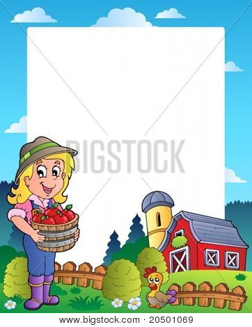 Country scene with red barn 6 - vector illustration.