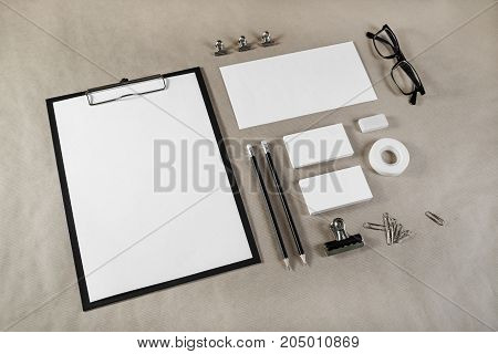Blank stationery template for placing your design. Mockup for branding identity on craft paper background.