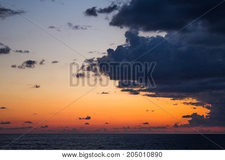 Sunset Seascape With Dramatic Sky And Colorful Clouds