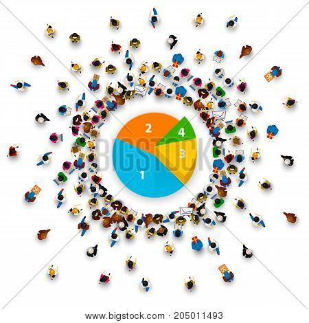 People surround the pie chart. Vector illustration
