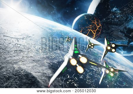 Five space ships flying to the collapsing planet. Sci-Fi concept. Elements of this image furnished by NASA