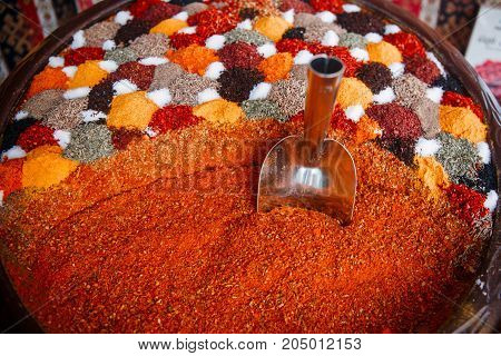 Grand Spice Bazaar, turkish spices for sale shops in Istanbul. Turkey