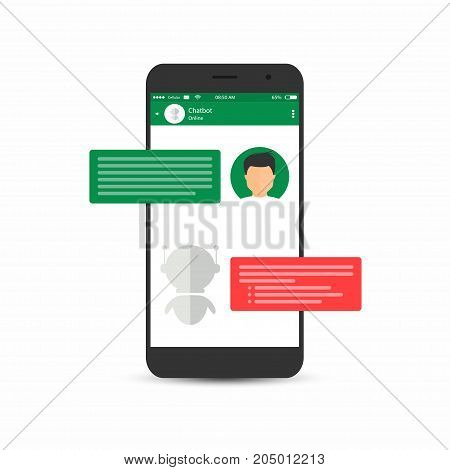 Chatbot Concept. Man Is Asking Question To Chatbot. User Icon And Virtual Assistant Icon Chatting