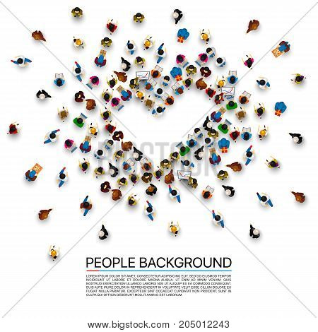 People in the heap in the form of a symbol to confirm. Vector illustration