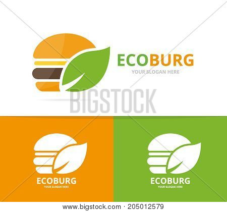 Vector burger and leaf logo combination. Hamburger and eco symbol or icon. Unique fastfood and organic logotype design template.