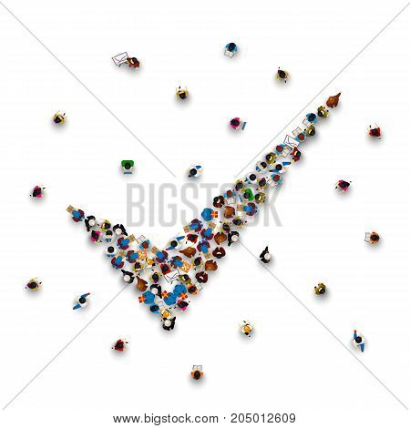 Crowd of people in the form of a symbol to confirm on a white background . Vector illustration
