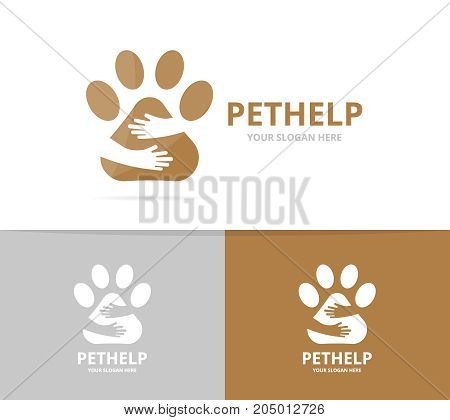 Vector paw and hands logo combination. Pet and embrace symbol or icon. Unique vet and friendship logotype design template.