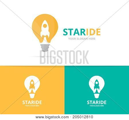 Vector lamp and rocket logo combination. Lightbulb and airplane symbol or icon. Unique idea and flight logotype design template.
