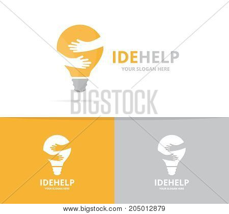 Vector lamp and hands logo combination. Lightbulb and embrace symbol or icon. Unique idea and friendship logotype design template.