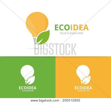 Vector lamp and leaf logo combination. Lightbulb and eco symbol or icon. Unique idea and organic logotype design template.