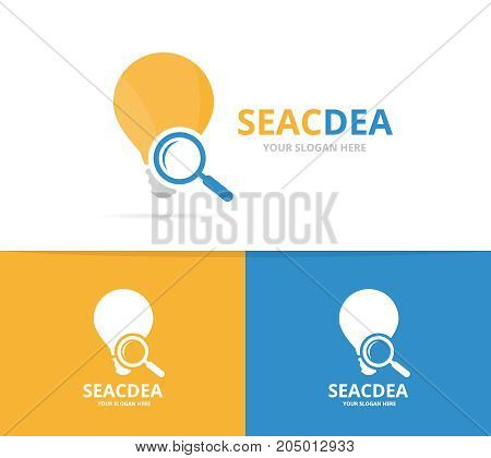 Vector lamp and loupe logo combination. Lightbulb and magnifying symbol or icon. Unique idea and search logotype design template.
