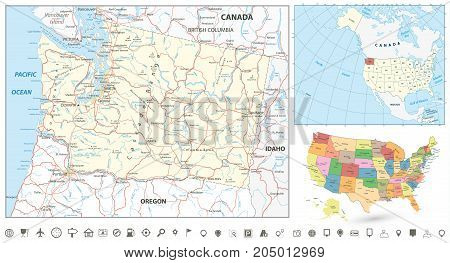 Washington state map navigation set with roads rivers lakes and highways.