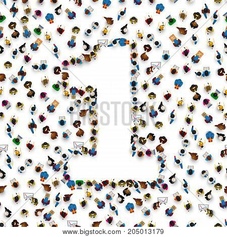 Large group of people in number 1 one form. People font. Vector illustration