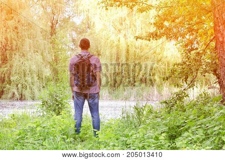 Man With A Backpack Is Standing On The Shore Of A Forest Lake. Back View